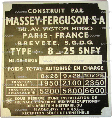 plaque constructeur ancienne massey ferguson 135 en fran ais. Black Bedroom Furniture Sets. Home Design Ideas